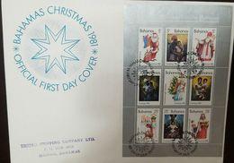 L) 1981 BAHAMAS, CHRISTMAS, STAR, SANTA CLAUS, PEOPLE, CHILD, ANGEL, BLOCK OF 6, FDC - Bahamas (1973-...)