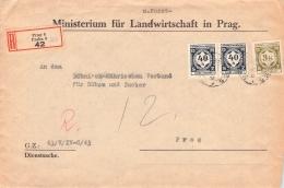 MiNr.D 2 ZD +10 (MiF) Auf Reco Brief Böhmen & Mähren Dienstpost - Böhmen Und Mähren