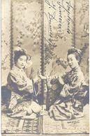 """CARTE PHOTO """" Femmes Asiatiques """"  Signée : FRITZ LEYBE Berlin N° 601 - Circulé 1907 - T.B.E. - Postkaarten"""