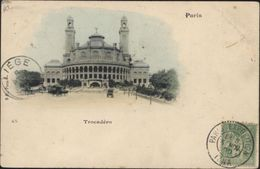 CAD Paris Exposition IENA 5 Nov 00 CPA Expo Universelle De 1900 Trocadéro YT 102 Sage T Taxe Annulée Au Dos - Marcophilie (Lettres)