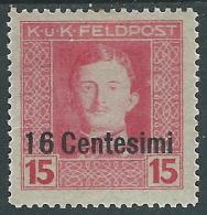 1918 OCCUPAZIONE AUSTRIACA ITALIA EFFIGIE 16 CENT SU 15 H MH * - I34 - 8. Besetzung 1. WK