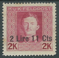 1918 OCCUPAZIONE AUSTRIACA ITALIA EFFIGIE 2,11 LIRE SU 2 K MH * - I34 - 8. Besetzung 1. WK