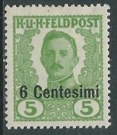 1918 OCCUPAZIONE AUSTRIACA ITALIA EFFIGIE NON EMESSI 6 CENT SU 5 H MH * - I34-3 - 8. Occupazione 1a Guerra