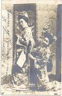 """CARTE PHOTO """" Femmes Asiatiques """"  Signée : FRITZ LEYBE Berlin N° 603 - Circulé 1907 - T.B.E. - Postkaarten"""