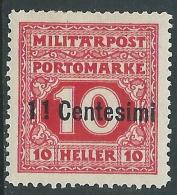 1918 OCCUPAZIONE AUSTRIACA ITALIA SEGNATASSE 11 CENT SU 10 H MH * - I34-4 - 8. Besetzung 1. WK