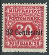 1918 OCCUPAZIONE AUSTRIACA ITALIA SEGNATASSE 32 CENT SU 30 H MH * - I34-4 - 8. Occupazione 1a Guerra