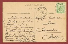 Heppen  Sterstempel Relais Aankomststempel Op Wenskaart 1907 - Marcophilie