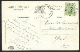 Belgique - Obl.fortune 1919 - 2 Scan - Obl. Type électoral NIVELLES + GHEEL Centre Vide + Verso Collégiale Ste Gertrude - Marcophilie