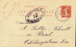 S France Entier 10 C  Semeuse Camée ..controle Autorité Militaire .. Schiltigheim 1919 Alsace - Entiers Postaux