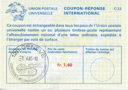 United Nations Geneva, Nations Unies, 1985, International Reply Coupon, IRC, International Labour Organization Cancel - Geneva - United Nations Office