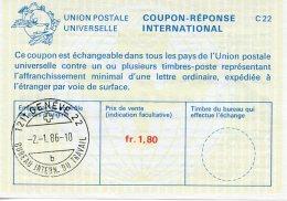 United Nations Geneva, Nations Unies, 1986, International Reply Coupon, IRC, ILO - BIT Letter B Cancel - Geneva - United Nations Office