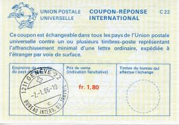 United Nations Geneva, Nations Unies, 1986, International Reply Coupon, IRC, ILO - BIT Letter C Cancel - Geneva - United Nations Office