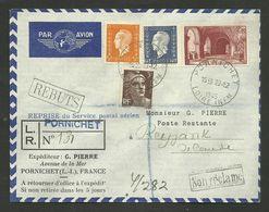 Recommandé Avion >>> ISLANDE / PORNICHET 23.12.1945 / Affr. Dulac - Gandon - St Denis - Marcophilie (Lettres)