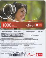 ARMENIA - Girl, VIVA/MTS Prepaid Card 1000 AMD(medium Barcode), Exp. Date 01/01/15, Used - Armenië