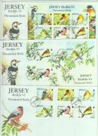 BIRDS - JERSEY - 2012 - THREATENED  BIRDS  SET OF 6 + SOUVENIR SHEETS ON  3 ILLUSTRATED FDC - Climbing Birds