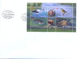 2014. Moldova, Fauna Of Moldova, Birds, Snails,fishes,  FDC With S/s, Mint** - Moldavië