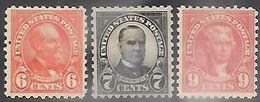 US  1925  Sc#587-8, 590   6c/7c/9c  Presidents  MH*     2016 Scott Value $27.75 - Unused Stamps