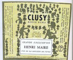 1 Etiquette Ancienne De VIN - HENRI MAIRE CLUSY ROUGE RUBIS - Giullari