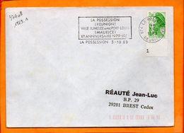 REUNION, La Possession, Flamme à Texte, Ville Jumelée Avec Port Louis (ile Maurice) - Oblitérations Mécaniques (flammes)
