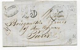 HERAULT De PEZENAS  LAC Du 07/09/1851 Avec Dateur T 13 Et Taxe Tampon De 25 - 1849-1876: Période Classique