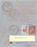 ENTIER CARTE PNEUMATIQUE TYPE CHAPLAIN 1 F.25  YT 2616 + COQ DECARIS 25 C YT 1331 TàD PARIS 56 Du 13-11-64 16h45 - Postal Stamped Stationery