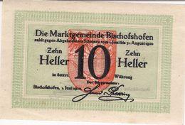 Österreich Austria Notgeld 10 HELLER FS88 BISCHOFSHOFEN /187M/ - Austria