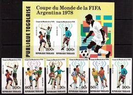 Togo-1978,(Mi.1300-1305B,Bl.133B) Imper. , Football, Soccer, Fussball,calcio,MNH - Copa Mundial