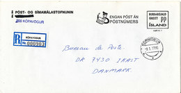 Iceland Registered Cover Sent Port Paid To Denmark Kopavogur 9-1-1990 - 1944-... Republique