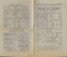 HORAIRE PLM SERVICE ETE 1916  GRENOBLE LYON PARIS  AUTRES DIRECTIONS - Europe