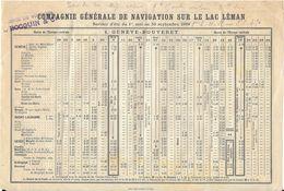 HORAIRE COMPAGNIE GENERALE NAVIGATION SUR LAC LEMAN ETE 1909 GENEVE BOUVERET ET RETOUR - Europe