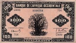 100 FRANCS BANQUE DE L AFRIQUE OCCIDENTALE RARE1942 VOIR SCAN BON ETAT - Other - Africa