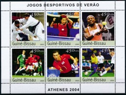 D- [402393] **/Mnh-Guinée-Bissau 2003 - Joueurs De Sports, Karaté, Tennis, Tennis De Table, Football - Timbres