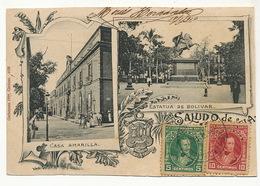 Caracas Casa Amarilla Y Estatua De Bolivar Maximum Card Edicion Gathman A Cienfuegos Cuba - Venezuela