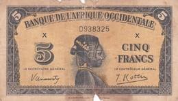 BILLET 5 FRANCS BANQUE DE L AFRIQUE OCCIDENTALE 1942 VOIR SCAN PICK 28 - Other - Africa