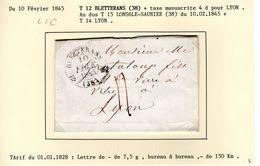 JURA : T 12  BLETTERANS  Sur LAC En 1845 ( Indice 5 ) - Marcophilie (Lettres)