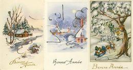 Lot De 3 Mignonettes Bonne Année Paysages De Neige 2 Rennes Tirant Un Traineau Avec Cadeaux Parsemés De Petits Brillants - Anno Nuovo