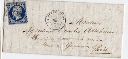 LA FERTE MILON 02 Aisnetype 15 Losange PC 1856 Napoleon Non Dentelé 20c Bleu Foncé N°14 I - Marcophilie (Lettres)