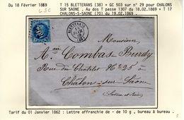 JURA : T 15 BLETTERANS  + GC 503 Sur Yt 29  Sur LSC En 1869 ( Indice 5  ) - Marcophilie (Lettres)