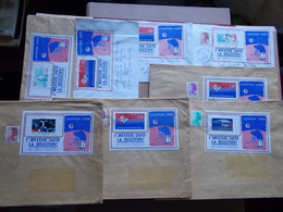 FRANCE VIGNETTE PORTE TIMBRE SUR LETTRE 8 EXEMPLAIRES L'aventure Carto Illustration De Gastou - Curiosities: 1980-89 Covers & Documents