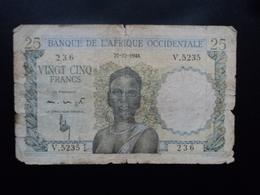 AFRIQUE OCCIDENTALE FRANCAISE : 25 FRANCS  27.12.1948  P 38   état B - Billets