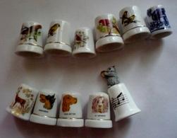 Lot  De11 DES A COUDRE COLLECTION - Porcelaine - OISEAUX - CHIENS - OURS Musicien (voir 12 Scans) - Thimbles