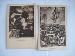"""2 CPA Tableau  Roma Pinacoteca Capitolino,   """" Battesimo Di Gesü """" Tiziano, + La Risurrezione  T.B.E. - Paintings"""