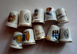 Lot De 10 Dés à Coudre Collection Porcelaine - CORSE - ESPAGNE Et ILES - Thimbles