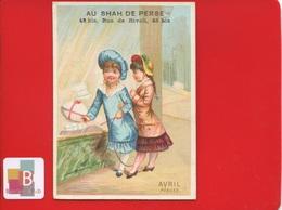 PARIS SHAH DE PERSE Chromo ROMANET Calendrier Mois Année Avril PAQUES VITRINE FILLETTES  Magasin Oeuf Chocolat - Andere
