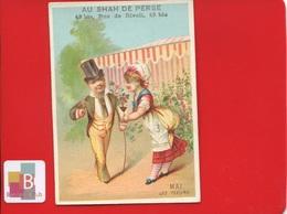 PARIS SHAH DE PERSE Rue RIVOLI Chromo ROMANET Calendrier Mois Année Mai Fleurs Amoureux - Andere