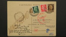 Entier Postal Italie Belluno 1943 Avec Complément Timbres Et Censure Pour Troyes France - 1900-44 Vittorio Emanuele III