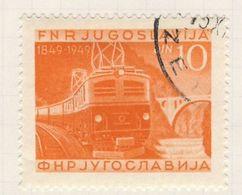 Jugoslavija Yugoslavia 1949 Mi 586 YT 526 Used - Electric Train On Bridge Over River Vintgar / Elektrolokomotive - Eisenbahnen