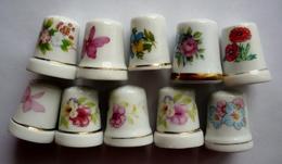 Lot De 10 Dés à Coudre Collection Porcelaine - FLEURS DIVERSES - Thimbles