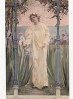 CPA Femme Lady Girl Donna Fraü Fleurs Iris Art Nouveau Art Nouille Illustrateur Anonyme - Women