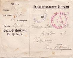 PRISONNIER DE GUERRE 14 18  FRANCAIS LAGER GRAFENWOHR  VERS TARADEAU  2 MARQUES DE CENSURE - Documents Historiques